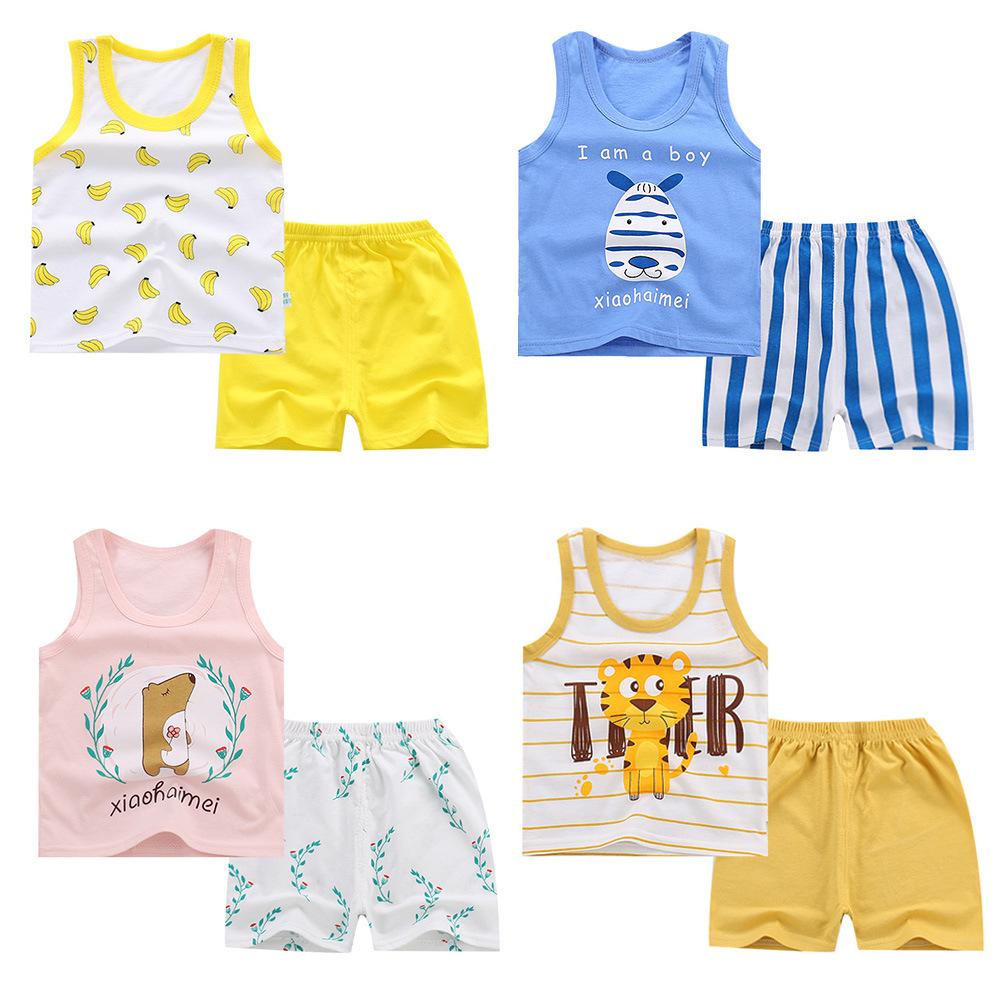 童装2021夏季新款儿童背心套装纯棉外贸宝宝无袖短裤韩版男童衣服