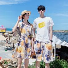 情侣装夏装新款沙滩海边度假V领女连衣裙男短袖T恤衫两件套  3455
