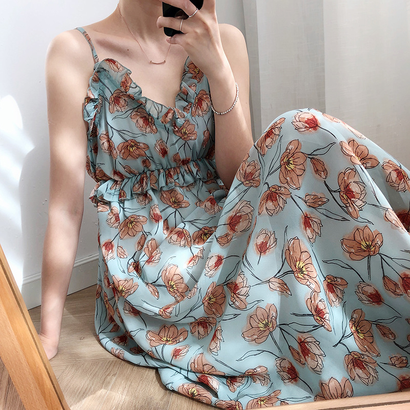 Luxi Sling Skirt Sleeveless Floral Dress Women's Summer 2019 Net Red French Chiffon Fairy Orange Skirt