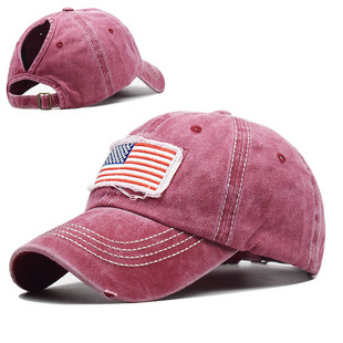 Pure cotton washed ponytail hole flag embroidered baseball cap ponytail cap foreign trade Europe and America tide curved brim ponytail cap