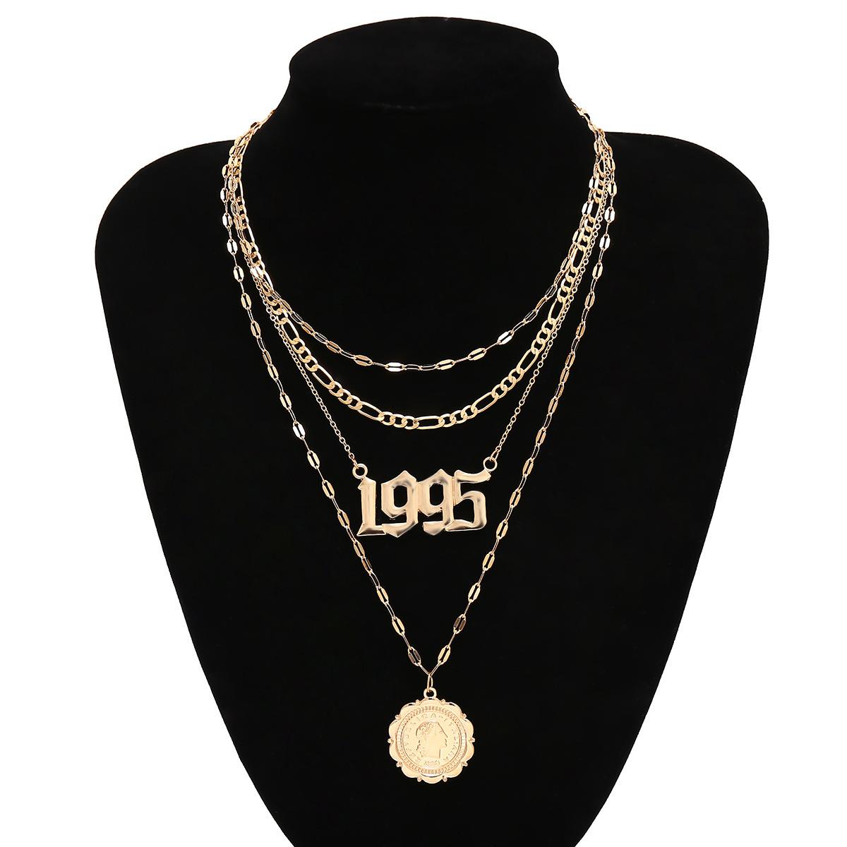 Jewelry long retro multi-layer chain item female digital geometry tassel portrait necklace NHXR177084