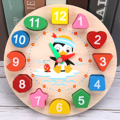 Counting clock, integrating wooden beads, threading clock, shape matching, jigsaw puzzle, children Educational Toys