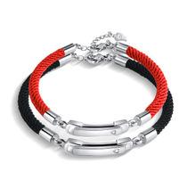 开合卡扣情侣手链一对韩版学生饰品简约男女同心锁本命年礼物手绳