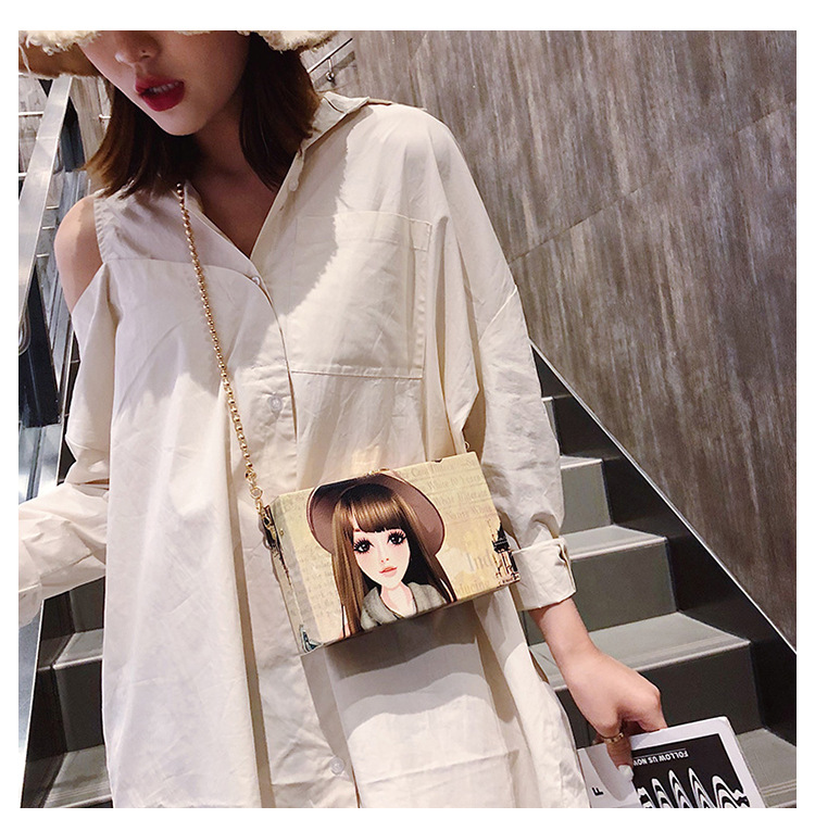 Summer new personality print one shoulder small square bag NHTC125199