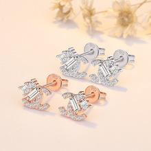 巧蘭軒韓國潮流925銀針時尚字母C耳釘氣質優雅女雙色玫瑰金鑲鉆飾