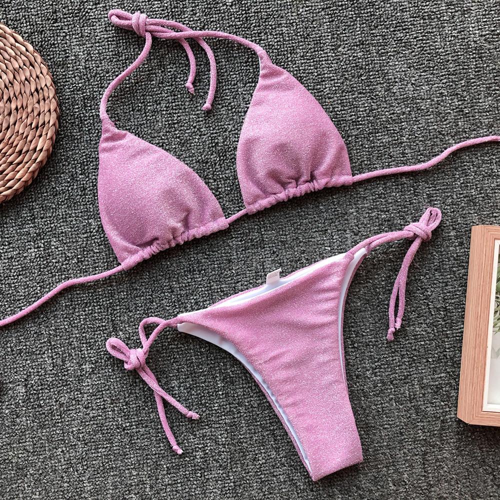 Hot Sale Flashing Fabric Ladies Swimsuit Pure Color Split Bikini wholesale NSDA360