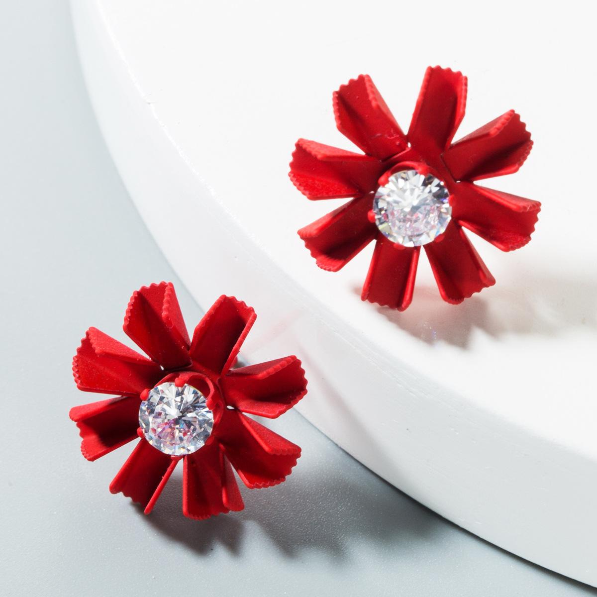 Womens Floral Diamond Alloy Earrings NHLN151601