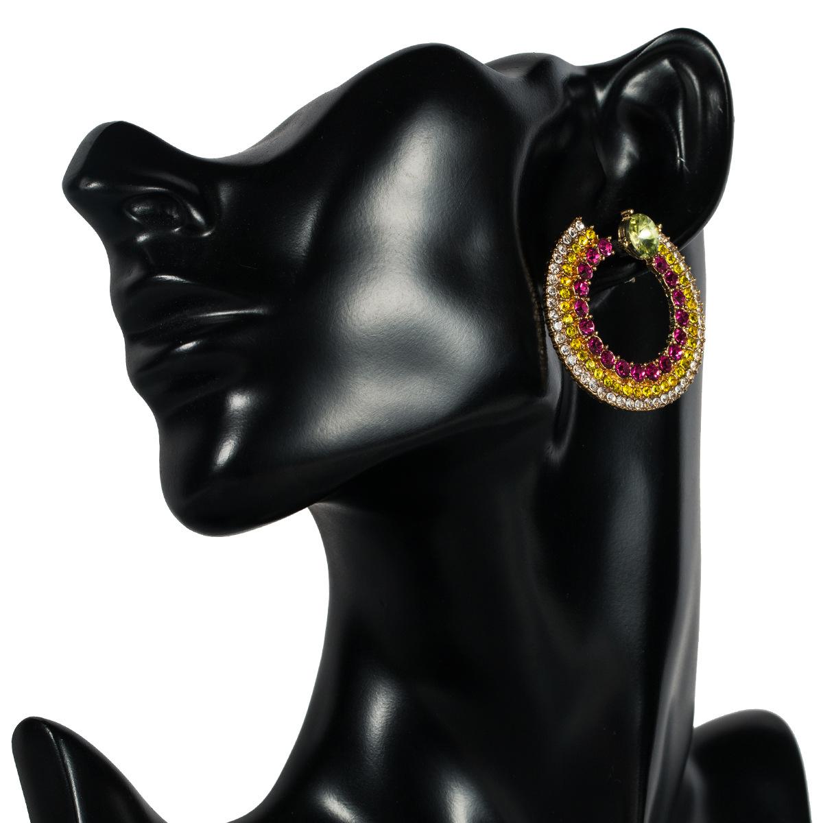 Ring multi-layer color rhinestone acrylic rhinestone earrings NHJE130552