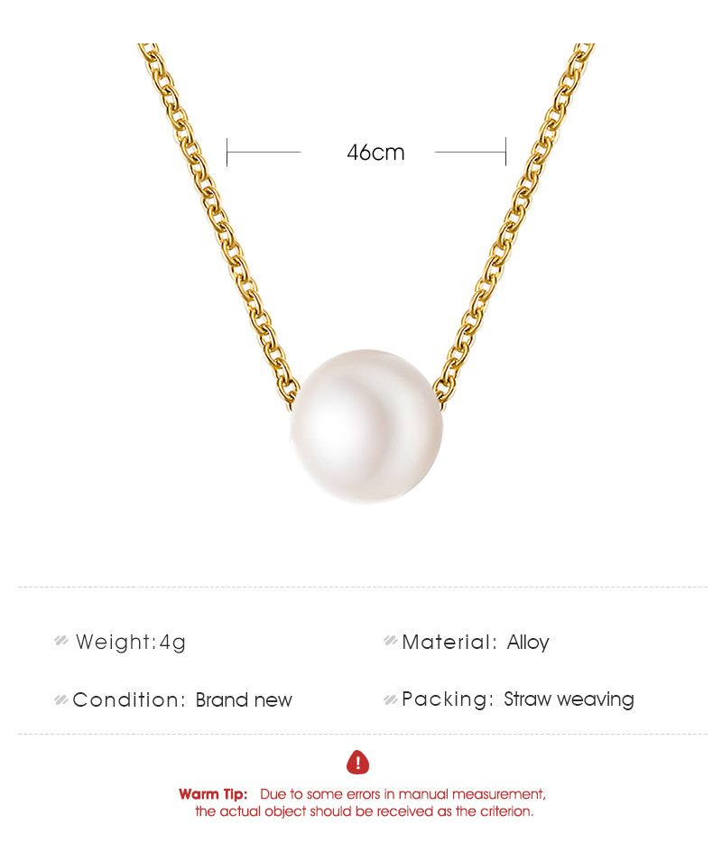Simple Pearl Ball Short Necklace Korean Star Simple Clothing Clavicle Chain wholesale nihaojewelry NHDP233417