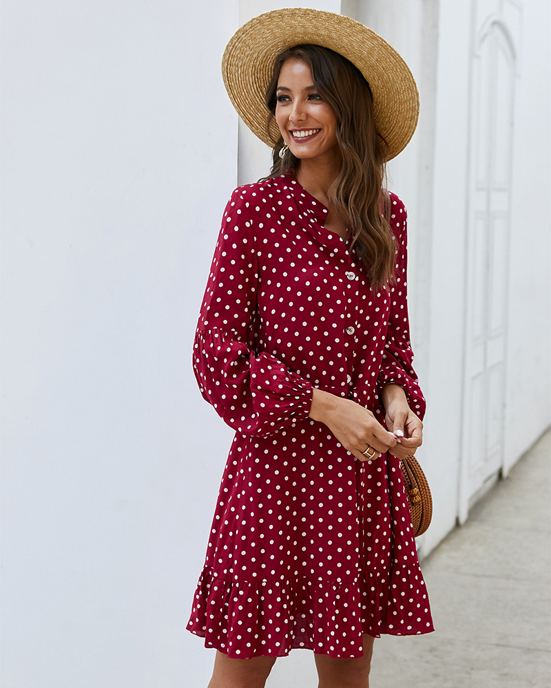 fashion women's spring and summer long-sleeved polka dot rayon dress NSKA1336