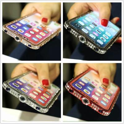 适用iphoneXSMAX金属边框双排钻卡扣式镶钻水钻奢华边框7/8Plus
