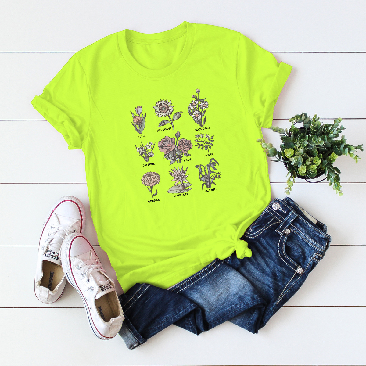 summer new hot short-sleeved flower cartoon solid color casual T-shirt NSSN894