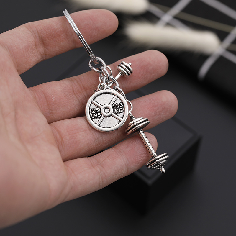 explosion key chain personality fitness master series barbell dumbbell dumbbell key chain small pendant accessories wholesale nihaojewelry NHMO220438