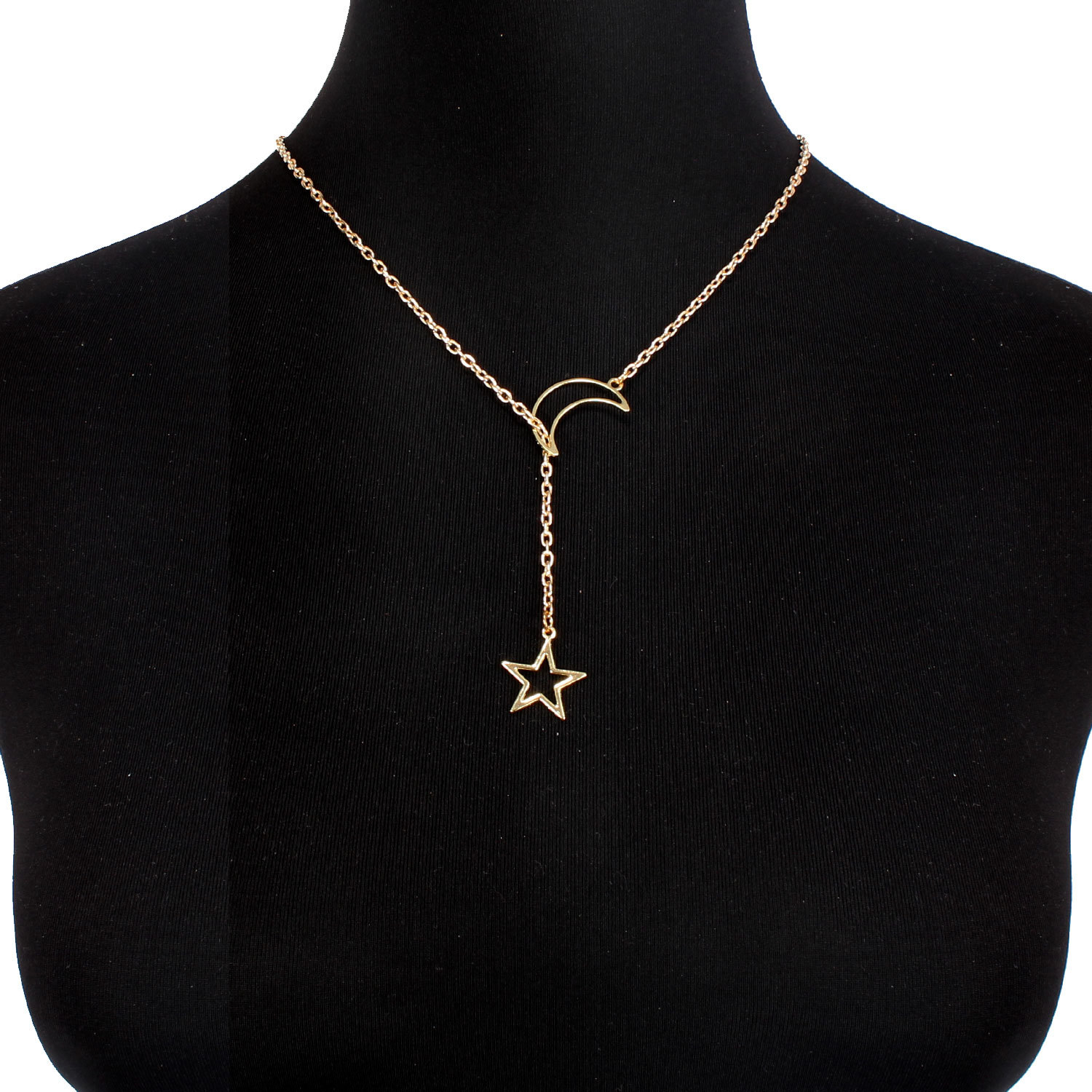 Womens Star Moon Electroplated Aluminum Necklaces NHCT125939