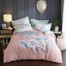 大版花印花純棉床單四件套全棉被套單美式外貿床上用品批發零售