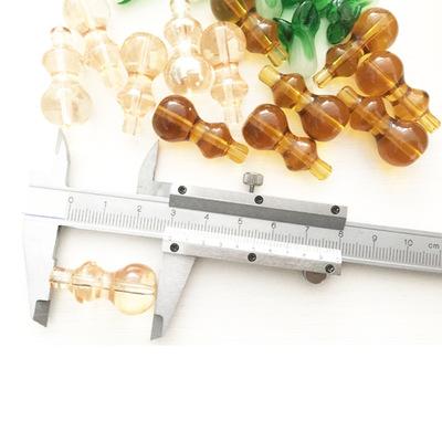 14x30mm葫芦中孔直孔三节透明白中琥金香槟色玻璃多节DIY散珠子