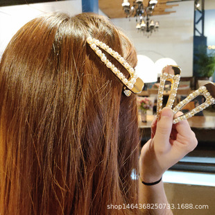 Korean pearl ins hairpin net red female Korean hairpin girl cute adult side top clip hair jewelry manufacturer