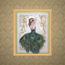钻石画5d异形钻孔雀公主女人新款十字绣圆钻魔方钻装饰画