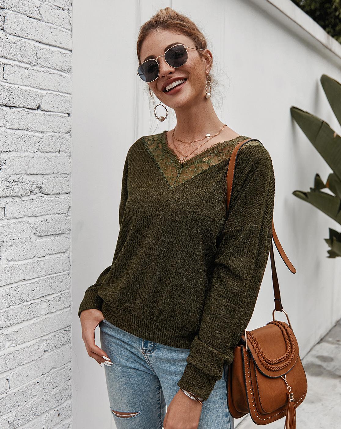knit V-neck sexy T-shirt NSKA8517