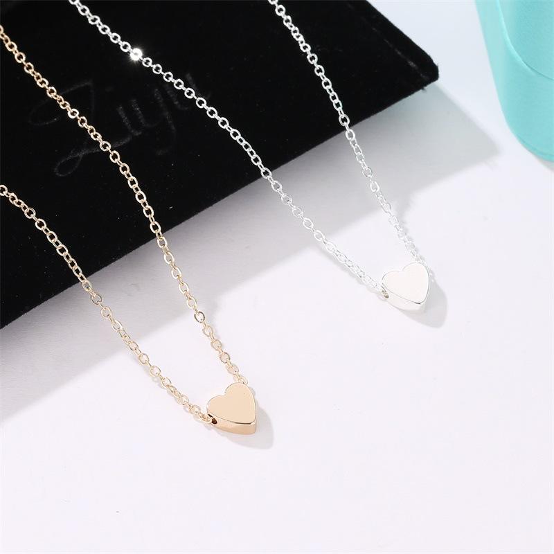 Korea peach heart mini love glossy threedimensional pendant love clavicle chain for women   NHDP246085