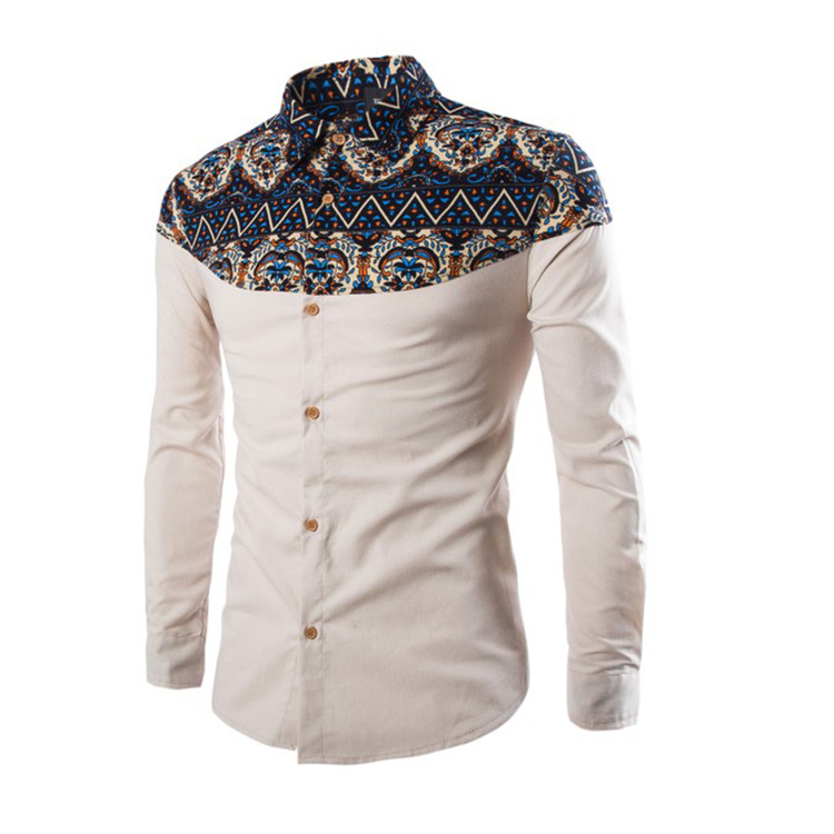 New national style color matching men's slim long sleeve shirt in spring and autumn of 2019