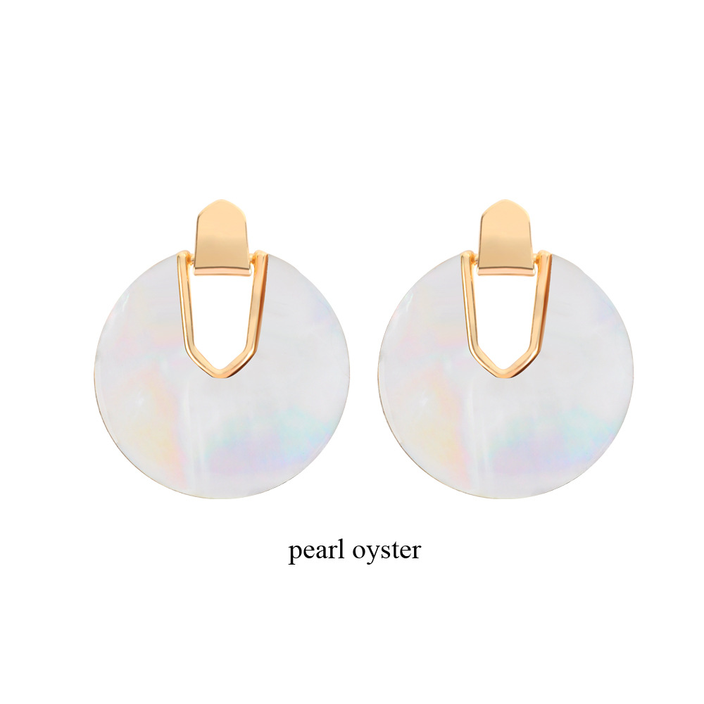 Womens Round  Fashion alloy shell Acrylic Earrings NHLL120570
