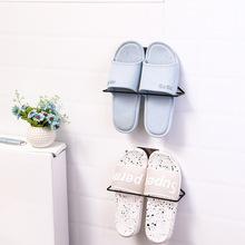 G205粘贴式铁艺收纳鞋架 家用壁挂式三角鞋架鞋托浴室拖鞋架简易