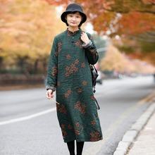 9132加絨加厚袍子冬季保暖蓄熱文藝印花棉麻連衣裙復古盤扣立領裙