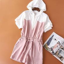 19夏季新款时尚撞色连体裤收腰带腰带显瘦女装气质甜美风休闲裤