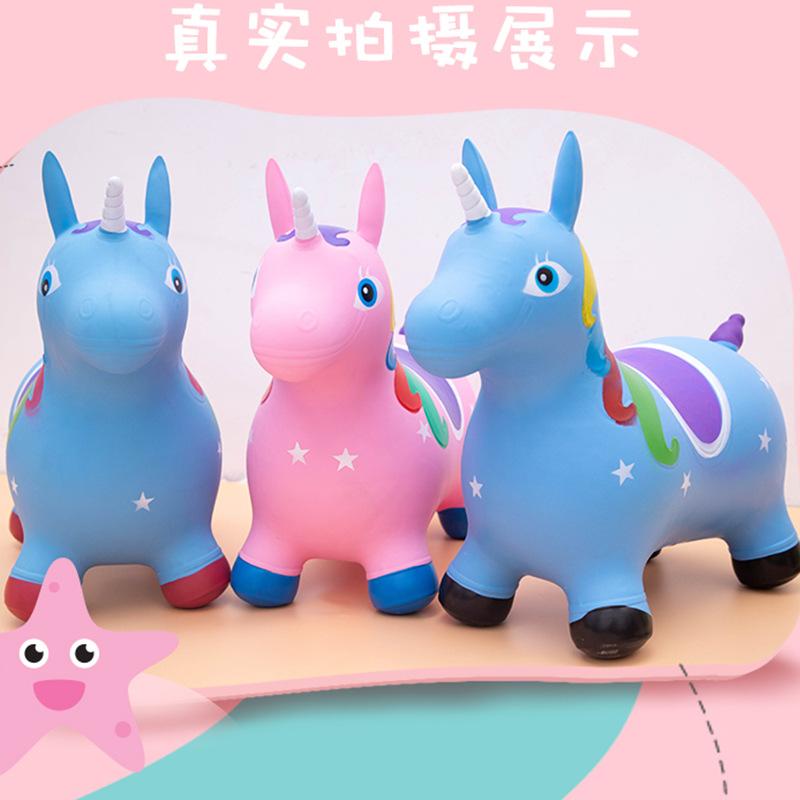 工厂直销新 彩绘跳跳马独角兽充气玩具儿童坐骑加厚环马批发