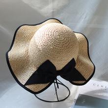 夏天拉菲草草帽遮阳防晒明星同款波浪包边大檐小清新蝴蝶结盆帽女