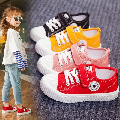 儿童帆布鞋男童鞋2019夏季新款女童休闲小白板鞋宝宝小童饼干布鞋