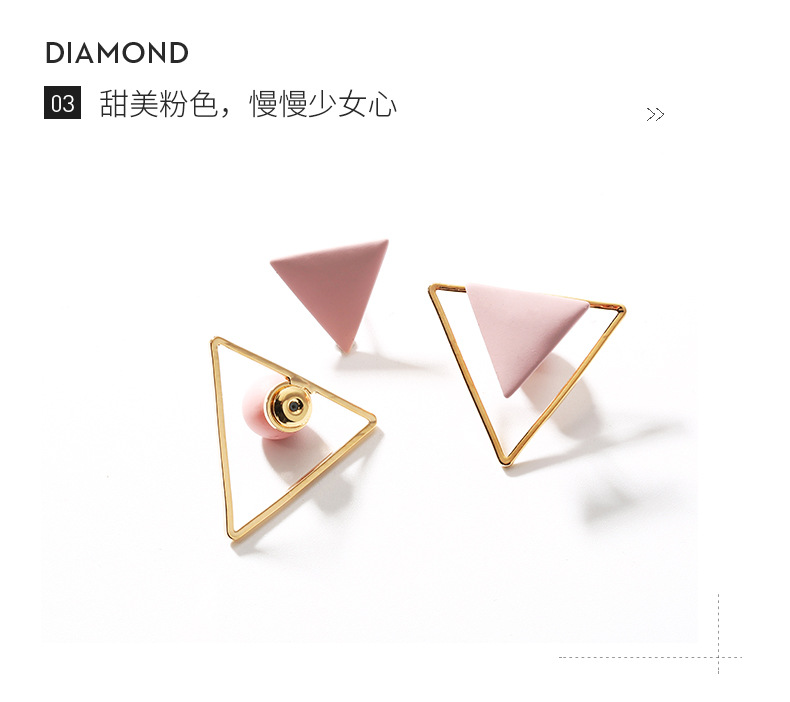 925 silver pin earrings pink geometric triangle fashion simple earrings women NHPP198633