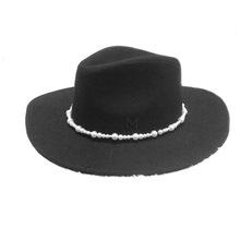 秋冬新款韩版女士黑色羊毛帽 时尚珍珠链装饰大檐毡帽