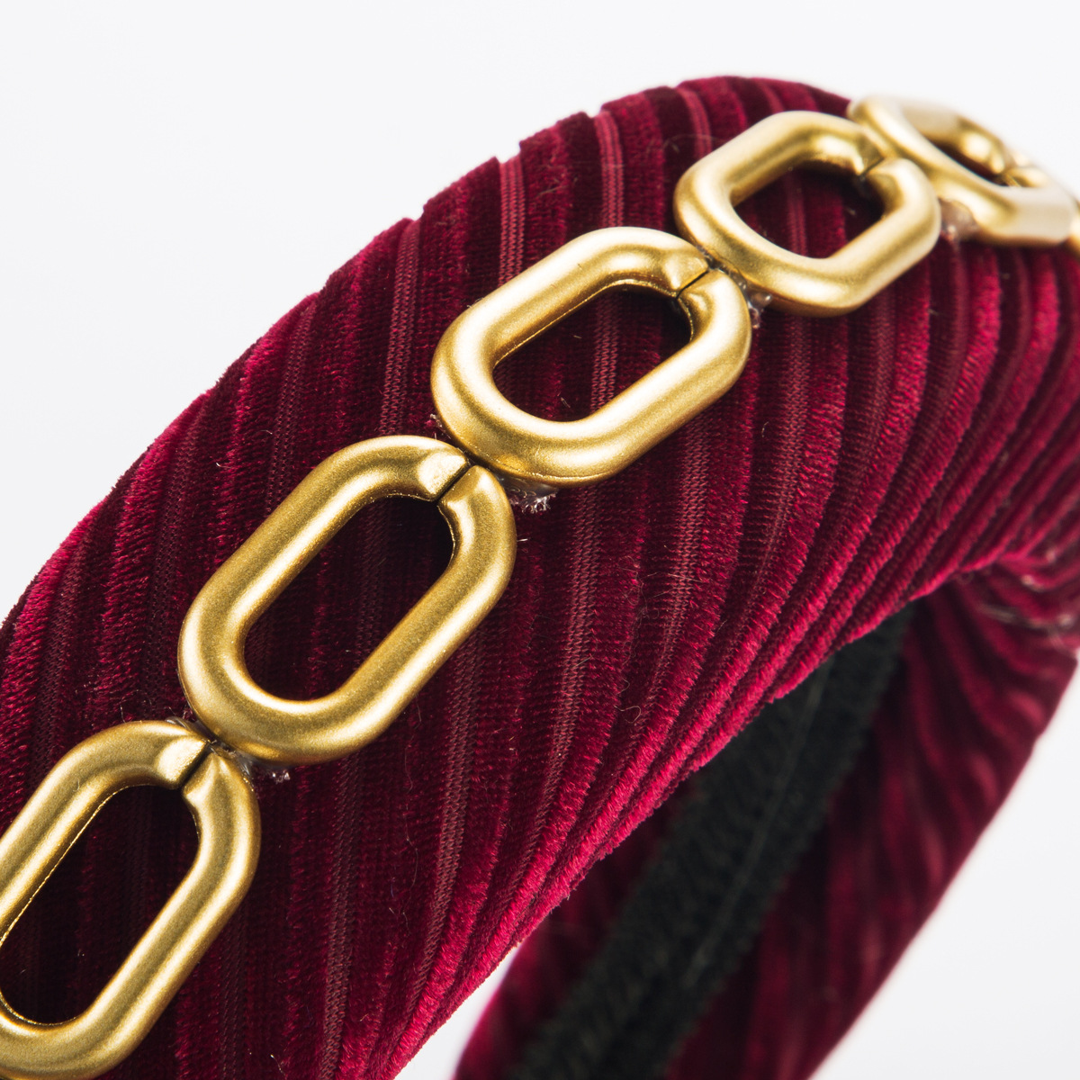 Diagonal stripe gold velvet hair hoop female single row alloy bamboo chain wide edge sponge headband NHJE185826