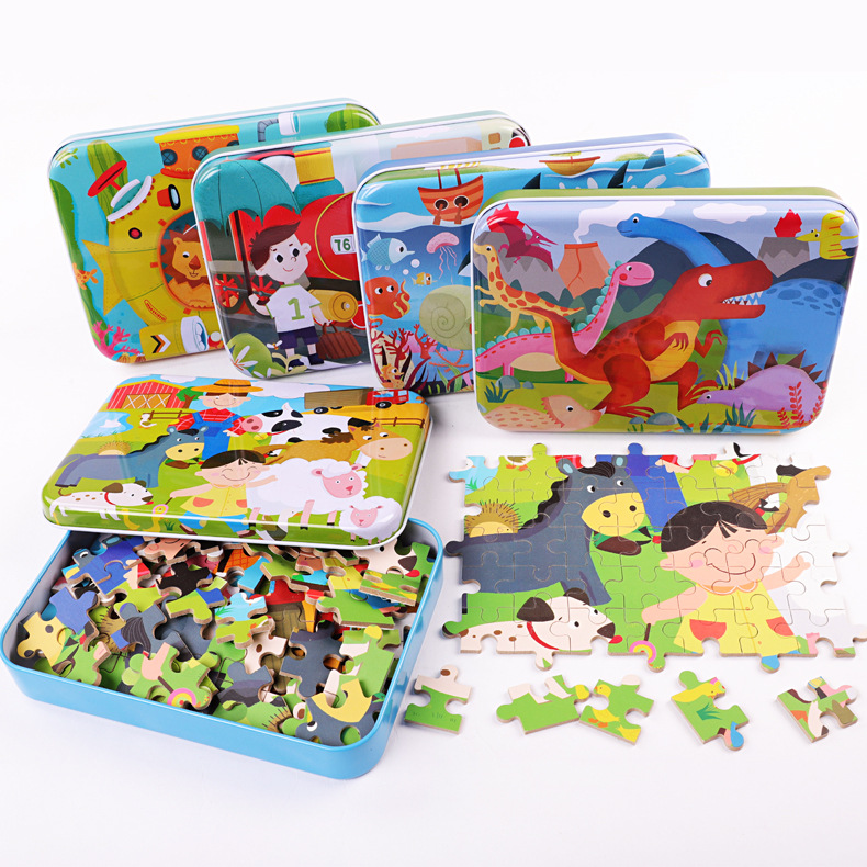 儿童铁盒拼图100片120片早教益智生日礼物礼品认知地摊爆款玩具