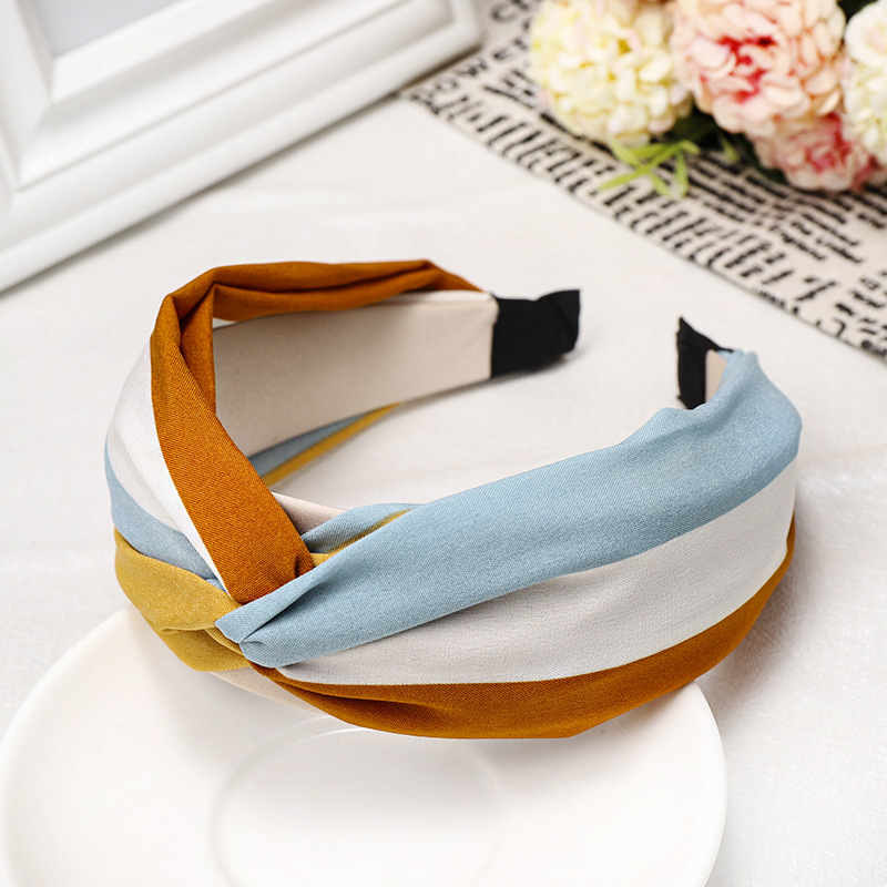 Rainbow cross headband small fresh fabric striped headband NHDM173133