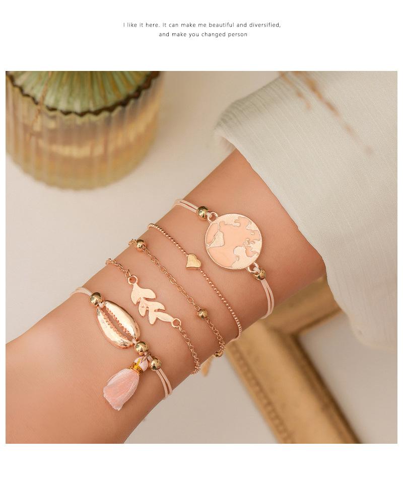 fashion shell tassel bracelet geometric map beaded small animal bracelet set wholesale nihaojewelry NHMO235899