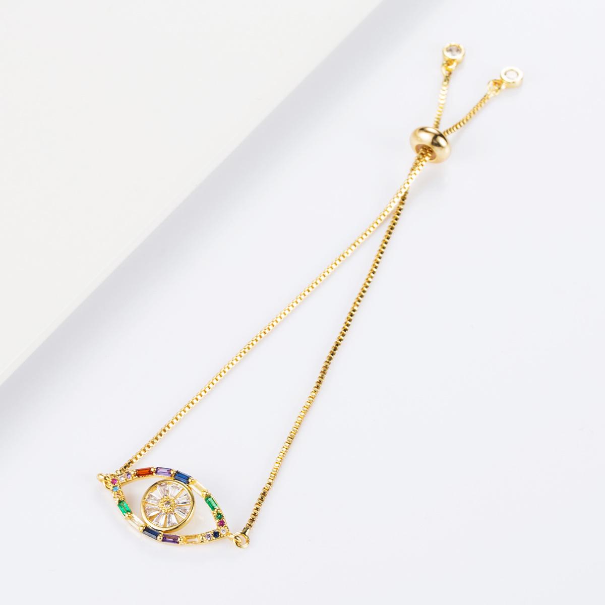 Fashion copper inlaid zircon pull color crystal bracelet NHLN155100