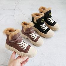 童鞋2019冬季新款真皮?#20449;?#31461;韩版马丁靴防滑软底百搭儿童雪地靴