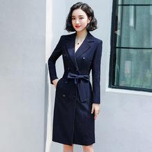 秋季OL通勤氣質條紋西服連衣裙雙排扣修身西裝外套女酒店工作服