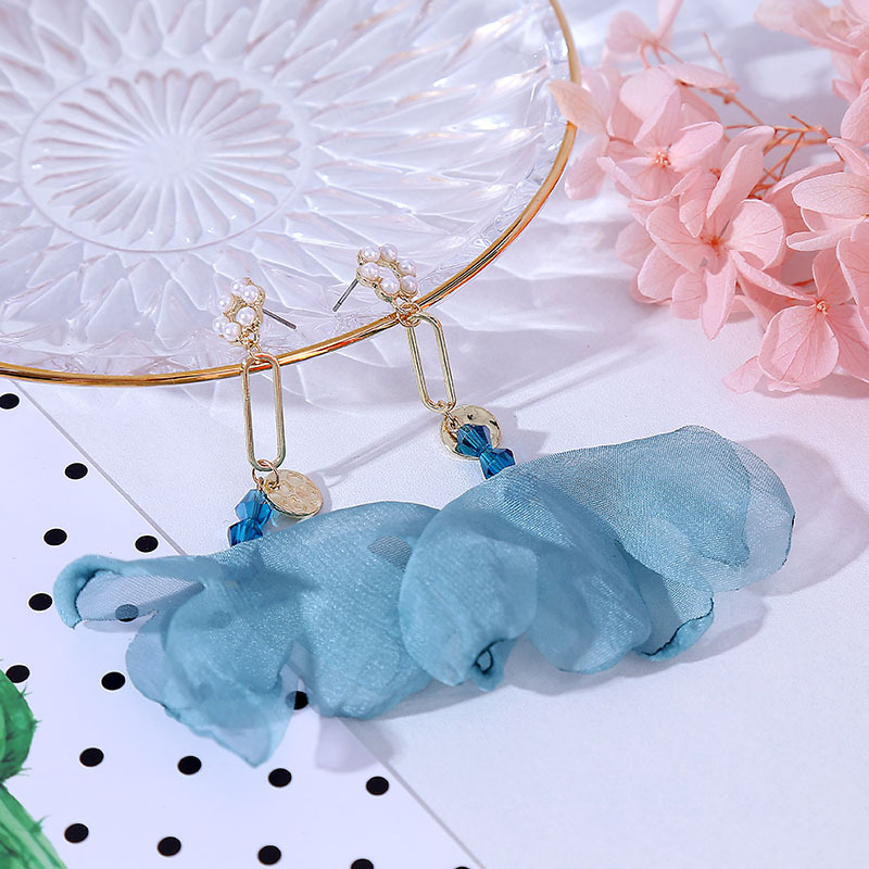 Long Pearl Mesh Lace Flower Korean Earrings Geometric Ornament NHLA204626