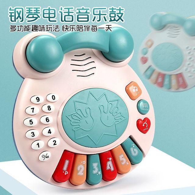 仿真电话机故事机手拍音乐琴拍拍鼓益智玩具 婴儿早教玩具男女孩