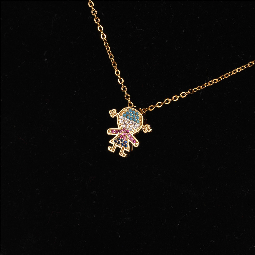 Fashion micro-studded cartoon character fashion clavicle chain necklace NHPY171171