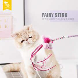 佩格小貓2019新品仙女逗貓棒pvc杆彩繩棉球貓咪互動玩具廠家直銷