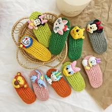 韓版兒童牛油果維尼熊系列配件針織毛線發夾BB夾劉海碎發夾頂夾女