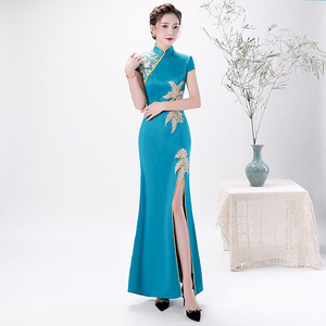 Chinese Dress Qipao for women Fish tail cheongsam sky blue long slit cheongsam ceremonial cheongsam custom made