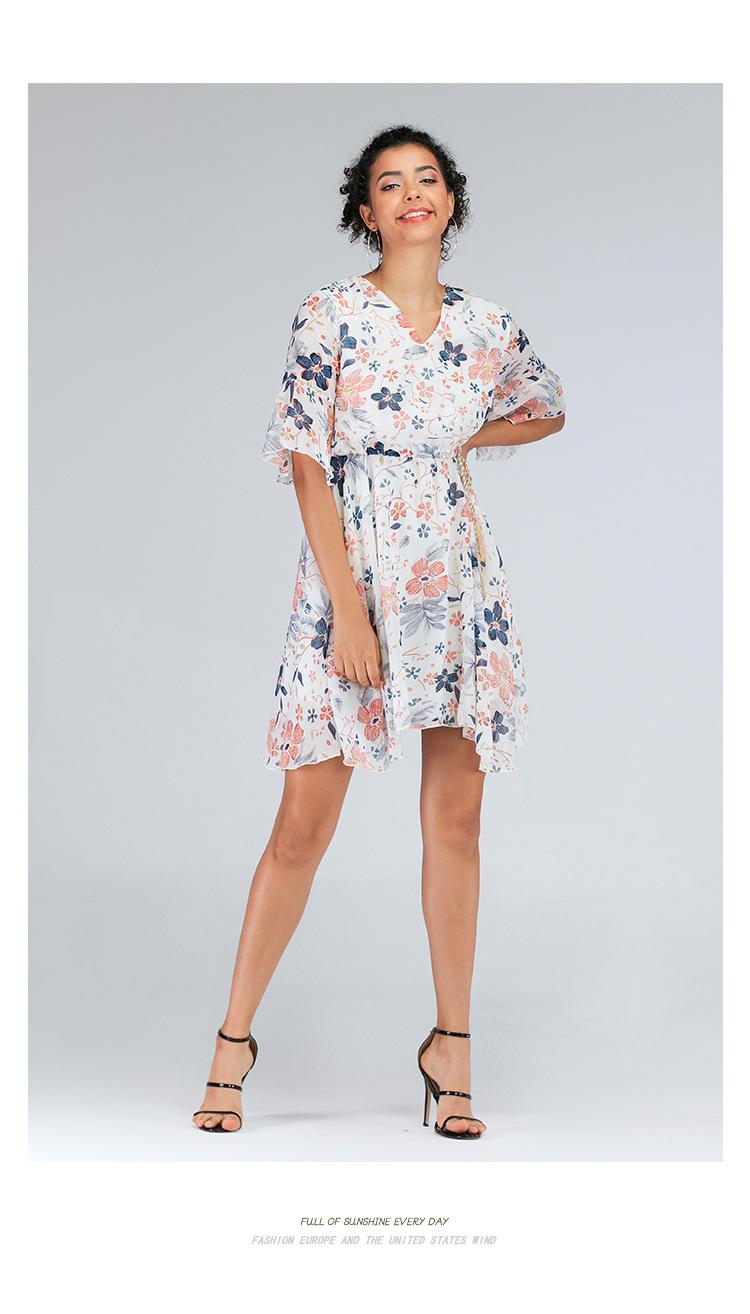 Small Floral V-Neck Chiffon Short Sleeve Dress NSJR36793