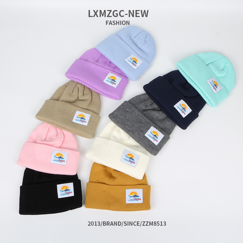 new warm and windproof knitted hat cloth label childrens doublelayer woolen hat wholesale nihaojewelry NHTQ245012
