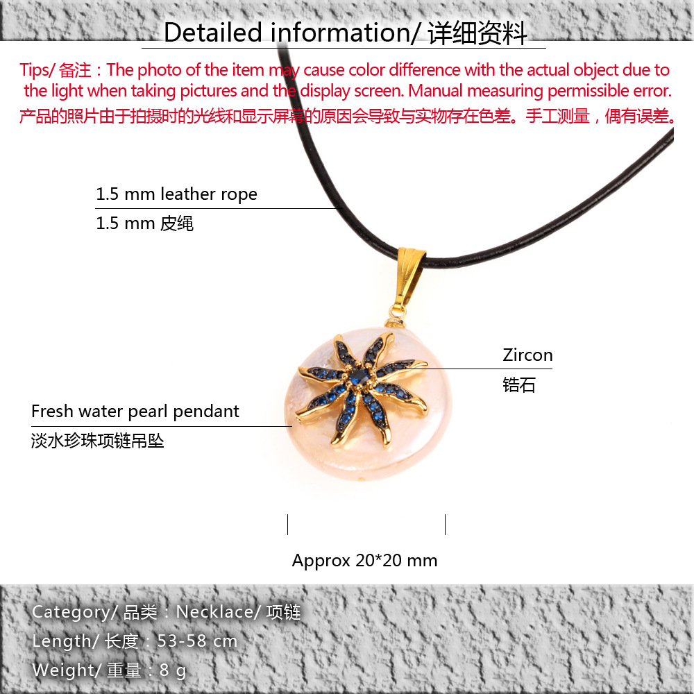 Micro inlay rhinestone eye pendant personality leather rope necklace NHPY134848